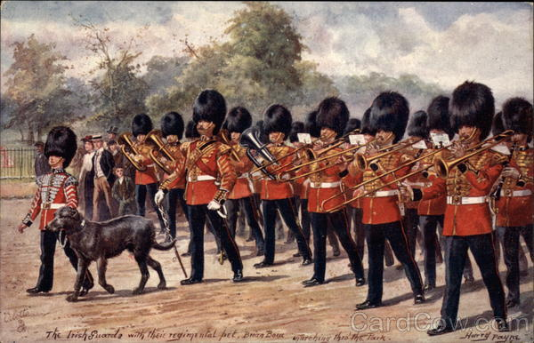 The Irish Guards With Their Regimental Pet London England