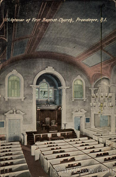 Interior of First Baptist Church Providence Rhode Island