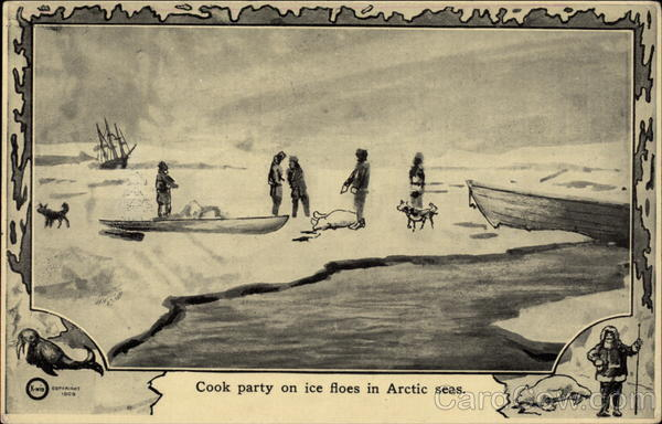 Cook party on ice floes in Arctic Seas Explorers