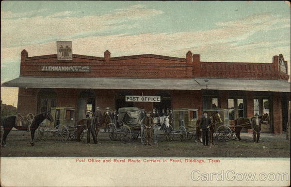 Post Office and Rural Route Carriers in front Giddings Texas