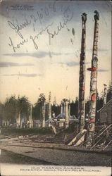 Deserted Indian Totem Pole Village Postcard