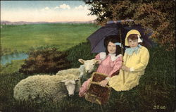 Two Children Relaxing in a Field with Sheep