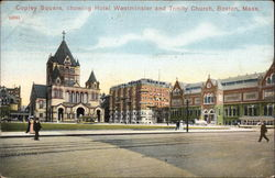 Copley Square, showing Hotel Westminster and Trinity Church Postcard