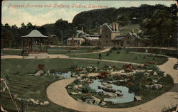 Pageant Gardens and Railway Station Postcard