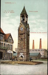 N.Y.C. and H.R.R. Depot, Town Clock and Corning Glass Works