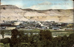 Panoramic View of Town and Mountains