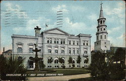 Post Office showing park Postcard