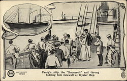 Peary's Ship the Roosevelt and Throng Bidding Him Farewell at Oyster Bay