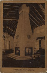 Fireplace, West Lounge, Edgewater Beach Hotel Postcard