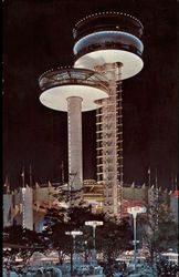 Observation Towers at the New York State Exhibit at Night