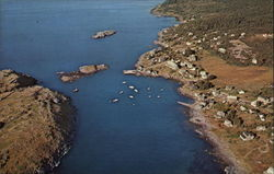 Aerial view of the village, harbor, and Manana