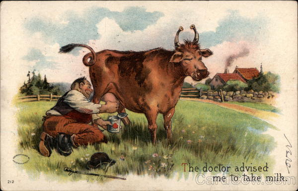 Man Milking Cow in a Field Comic, Funny