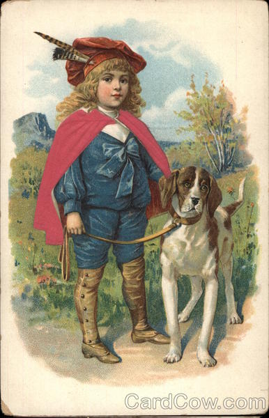 Young Boy with Dog Boys Silk & Fabric Applique