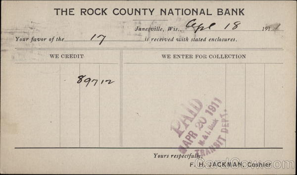 Rock County National Bank Receipt Postal Cards