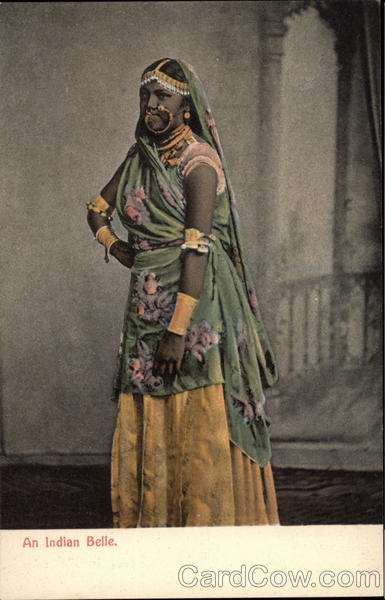 Indian Woman in Traditional Sari and Costume