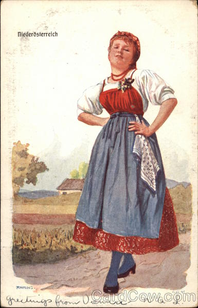 Woman in Austrian Traditional Dress