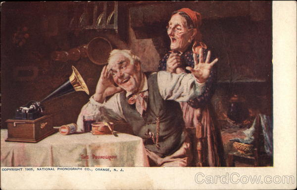 Old Couple Listening to Phonograph Advertising