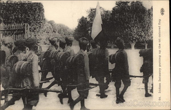 Indian Infantry Putting Up the Tri Colored Flag Military