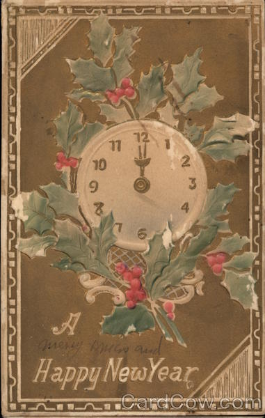 Happy New Year - Clock and Holly New Year's