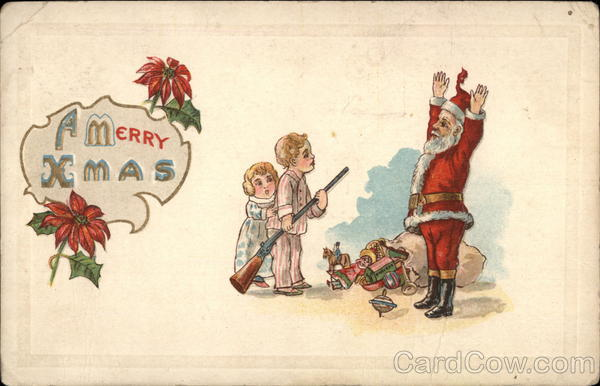 A Merry Xmas - Children Holding Up Santa Claus