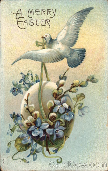 A Merry Easter - Dove Carrying Egg with Flowers Eggs