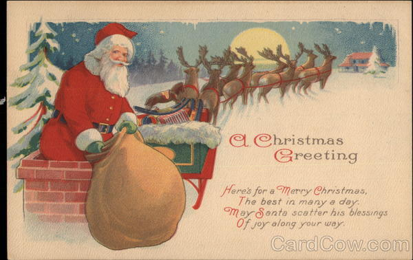 A Christmas Greeting - Santa Claus, Chimney and Sleigh