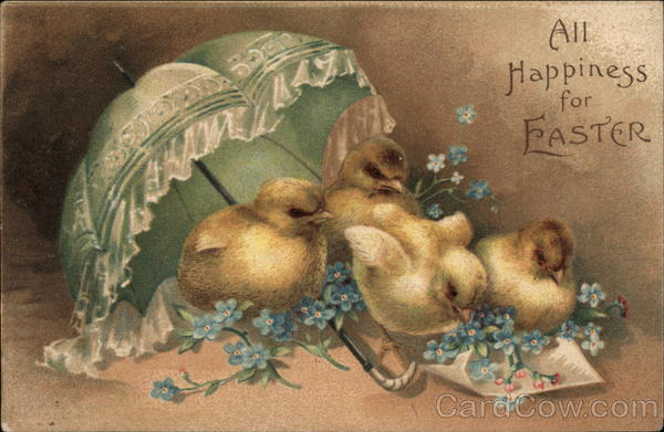 All Happiness for Easter - Chicks with Parasol With Chicks