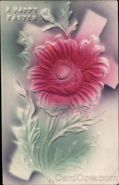 Embossed Pink Flower and Cross Flowers Airbrushed