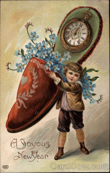 A Joyous New Year - Boy with Shoe and Clock Children
