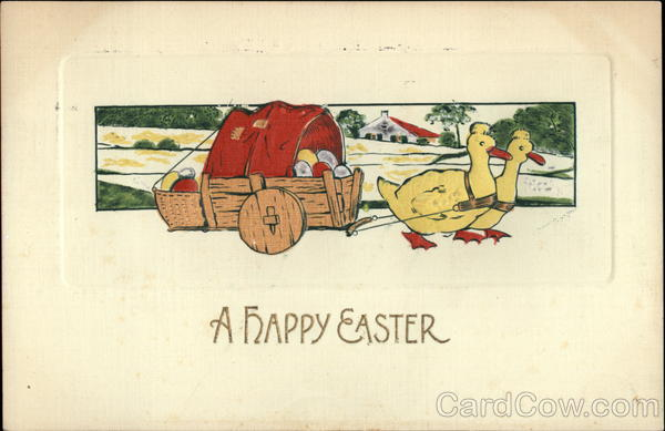 A Happy Easter - Ducks Pulling a Wagon of Eggs