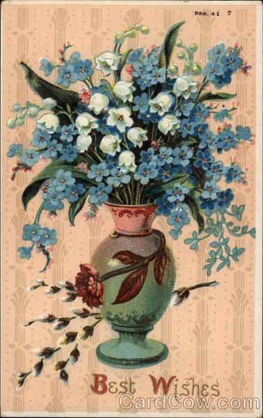 Vase of Blue and White Flowers Greetings