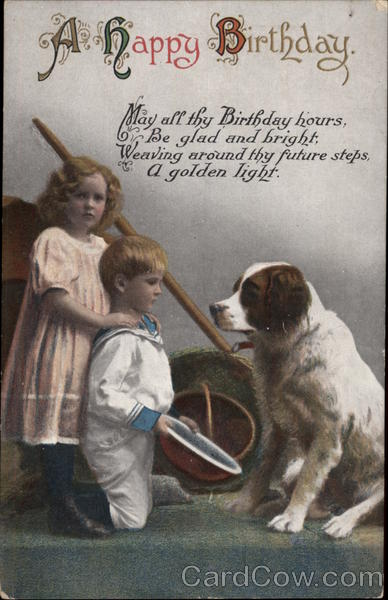 A Happy Birthday - Children and Dog Saint Bernards