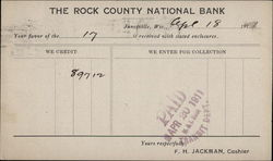 Rock County National Bank Receipt