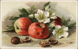 Flowers, Nuts and Apples Still Life