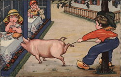 Dutch Boy Trying to Keep Pig Out of Trouble
