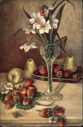Vase of Flowers with Strawberries and Pears