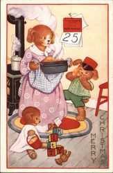 Merry Christmas - Dog Family Cooking Dinner Postcard