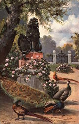 Exotic Birds in a Garden with Lion Statue