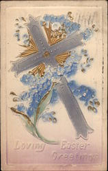 Loving Easter Greetings - Cross and Flowers