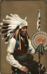 Native American with Large Headdress and Full Costume
