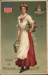 Girl with Milking Stool and Pail - State of Michigan