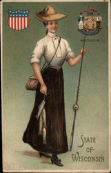 Girl with Fish and Fishing Pole - State of Wisconsin