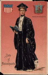 Girl Dressed in College Gown - State of Massachusetts