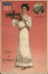 Girl Holding Branch with Oranges - State of California