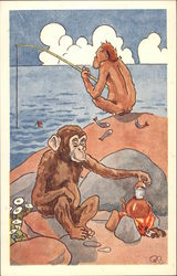 Two Monkeys Fishing for Supper