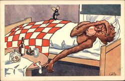 Monkey Sick in Bed