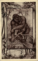 Gorilla in Jungle Environment, with Hunter and Snake Nearby