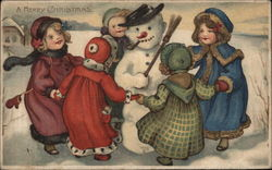A Merry Christmas - Snowman with Children