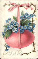 Easter Greetings - Large Pink Egg and Flowers