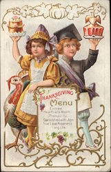 Thanksgiving Menu - Girl and Boy Holding Cakes